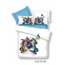 """Постельное белье """"Бабочки на белом"""", Мако-сатин 3D, Мако-Сатин, Волшебные сны"""
