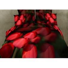 """Постельное белье """"Алые тюльпаны"""", Мако-сатин 3D, Мако-сатин, Волшебные сны"""